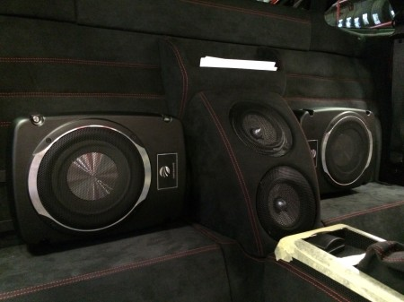 Ferrari sound system upgrade with twin subwoofers.